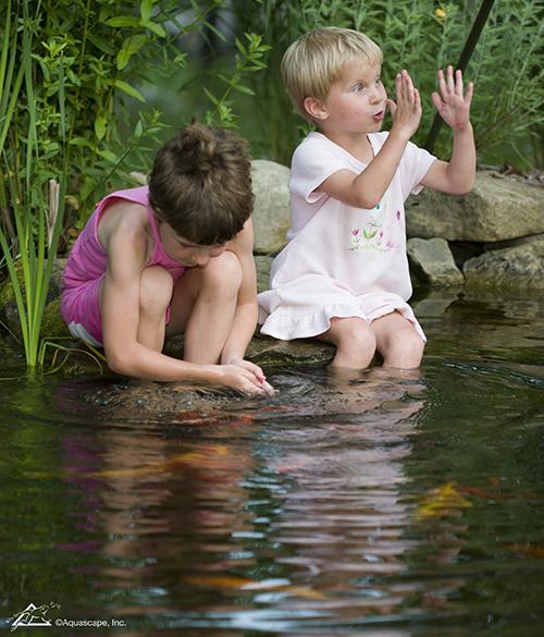 family in water garden