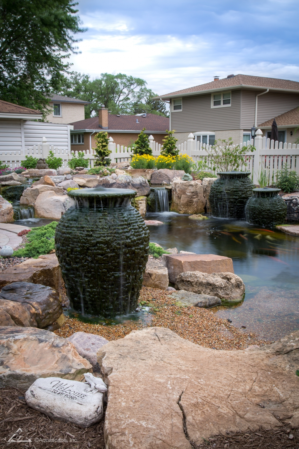 water garden construction with water features