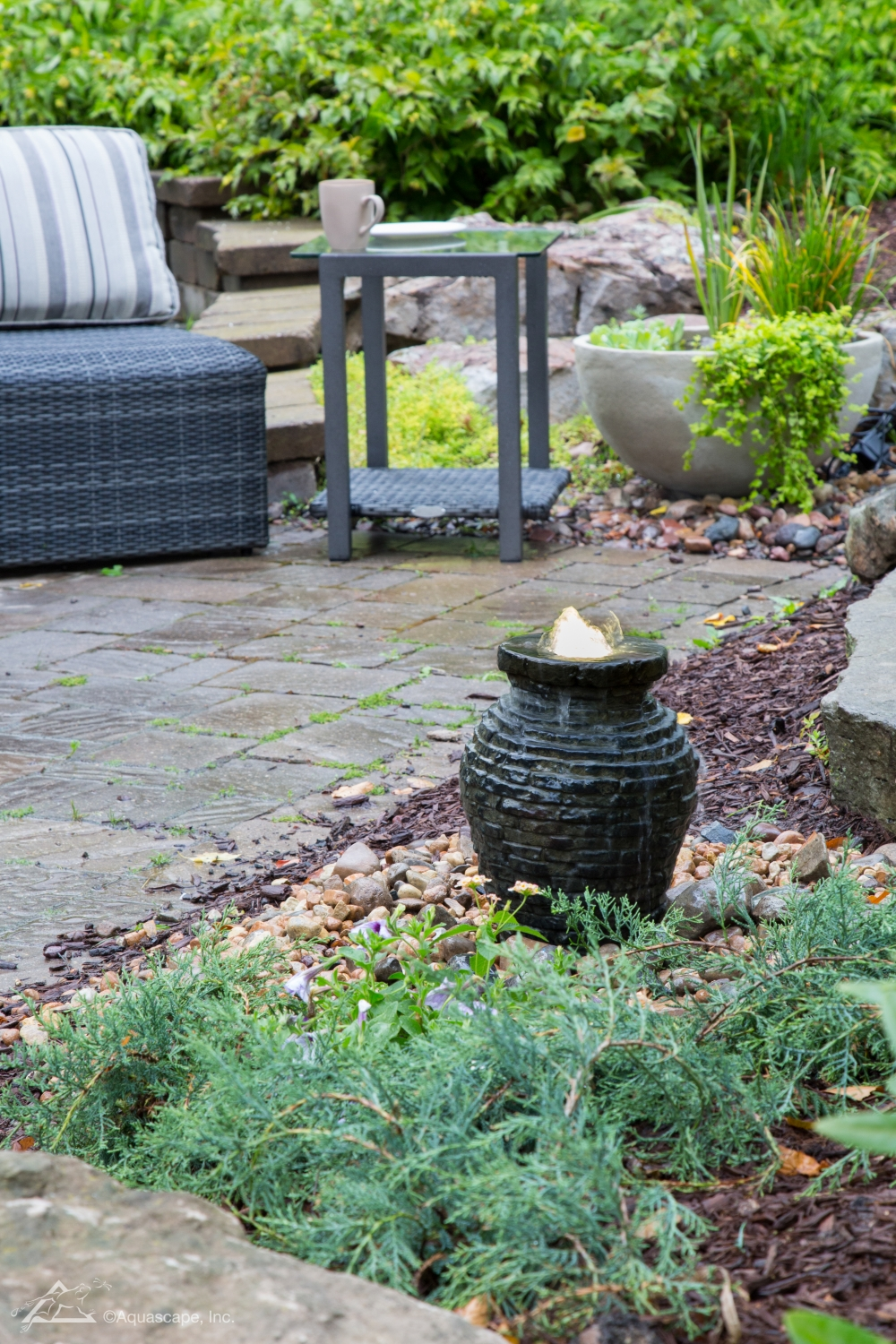 Mini Stacked Slate Urn fire fountain